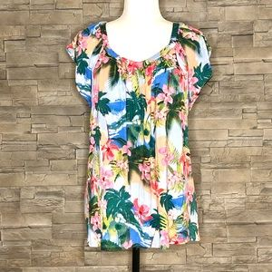 Cable & Gauge multicolour tropical top
